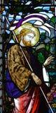 Toegenomen Jesus Christ in gebrandschilderd glas royalty-vrije stock foto's