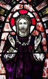 Toegenomen Jesus Christ in gebrandschilderd glas royalty-vrije stock foto