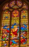 Toegenomen Jesus Stained Glass All Saints-Kerk Schlosskirche Witten stock fotografie