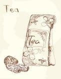 Toegenomen thee verpakking, vectorillustratie Stock Fotografie