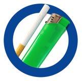 Toegestaan roken Rokend gebiedsteken met sigaret en aansteker stock foto's