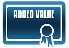 TOEGEVOEGD VALUE blauw certificaat royalty-vrije illustratie