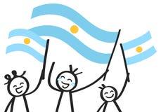 Toejuichend cijfers van de trio de gelukkige stok met Argentijnse nationale vlaggen, glimlachend de verdedigers van Argentinië, s stock illustratie