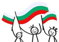 Toejuichend cijfers van de trio de gelukkige stok met Bulgaarse nationale vlaggen, glimlachend de verdedigers van Bulgarije, spor stock illustratie