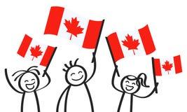 Toejuichend cijfers van de trio de gelukkige stok met Canadese nationale vlaggen, glimlachend de verdedigers van Canada, sportenv royalty-vrije illustratie