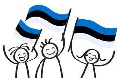 Toejuichend cijfers van de trio de gelukkige stok met Estlandse nationale vlaggen, glimlachend de verdedigers van Estland, sporte royalty-vrije illustratie