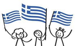 Toejuichend cijfers van de trio de gelukkige stok met Griekse nationale vlaggen, glimlachend de verdedigers van Griekenland, spor stock illustratie