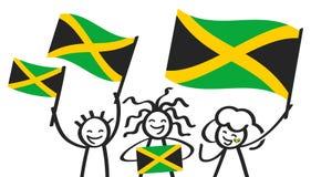 Toejuichend cijfers van de trio de gelukkige stok met Jamaicaanse nationale vlaggen, glimlachend Jamaïca-verdedigers, sportenvent stock illustratie
