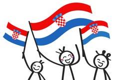 Toejuichend cijfers van de trio de gelukkige stok met Kroatische nationale vlaggen, glimlachend de verdedigers van Kroatië, sport stock illustratie