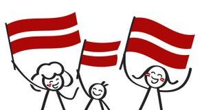 Toejuichend cijfers van de trio de gelukkige stok met Letse nationale vlaggen, glimlachend de verdedigers van Letland, sportenven vector illustratie