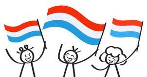 Toejuichend cijfers van de trio de gelukkige stok met nationale vlaggen van Luxemburg, die verdedigers, sportenventilators glimla royalty-vrije illustratie