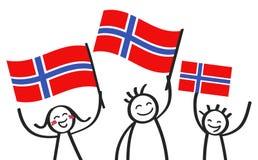Toejuichend cijfers van de trio de gelukkige stok met Noorse nationale vlaggen, glimlachend de verdedigers van Noorwegen, sporten stock illustratie