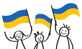 Toejuichend cijfers van de trio de gelukkige stok met Oekraïense nationale vlaggen, glimlachend de verdedigers van de Oekraïne, s royalty-vrije illustratie