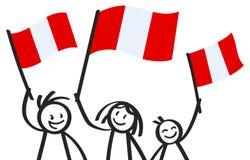 Toejuichend cijfers van de trio de gelukkige stok met Peruviaanse nationale vlaggen, glimlachend de verdedigers van Peru, sporten stock illustratie
