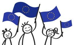Toejuichend groep gelukkige stokcijfers met de EU-vlaggen, Europese Unie verdedigers die en Europese vlaggen glimlachen golven stock illustratie