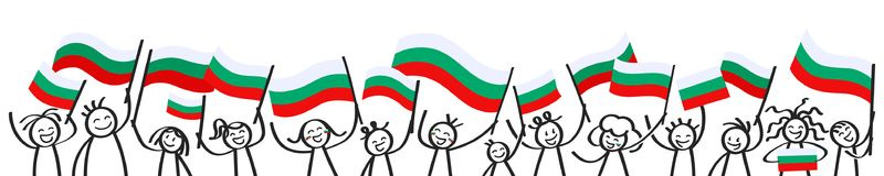 Toejuichend menigte van gelukkige stokcijfers met Bulgaarse nationale vlaggen, glimlachend de verdedigers van Bulgarije, sportenv stock illustratie