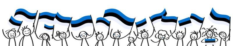 Toejuichend menigte van gelukkige stokcijfers met Estlandse nationale vlaggen, glimlachend de verdedigers van Estland, sportenven royalty-vrije illustratie
