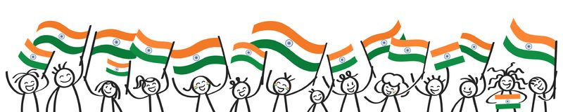 Toejuichend menigte van gelukkige stokcijfers met Indische nationale vlaggen, glimlachend de verdedigers van India, sportenventil royalty-vrije illustratie