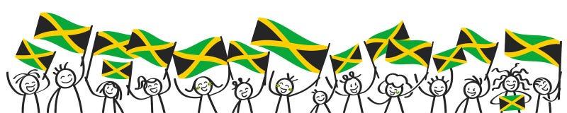 Toejuichend menigte van gelukkige stokcijfers met Jamaicaanse nationale vlaggen, glimlachend Jamaïca-verdedigers, sportenventilat royalty-vrije illustratie