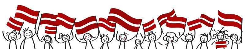Toejuichend menigte van gelukkige stokcijfers met Letse nationale vlaggen, glimlachend de verdedigers van Letland, sportenventila royalty-vrije illustratie