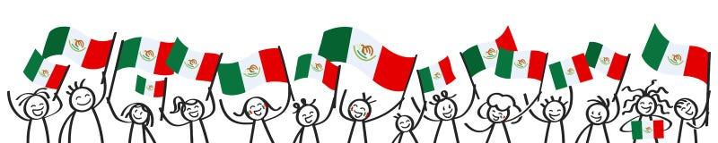 Toejuichend menigte van gelukkige stokcijfers met Mexicaanse nationale vlaggen, glimlachend de verdedigers van Mexico, sportenven royalty-vrije illustratie