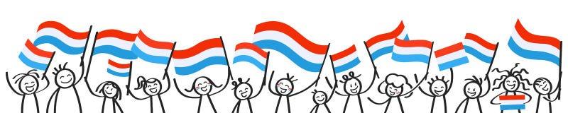 Toejuichend menigte van gelukkige stokcijfers met nationale vlaggen van Luxemburg, die verdedigers, sportenventilators glimlachen stock illustratie