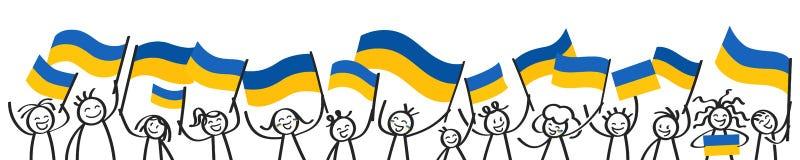 Toejuichend menigte van gelukkige stokcijfers met Oekraïense nationale vlaggen, glimlachend de verdedigers van de Oekraïne, sport vector illustratie