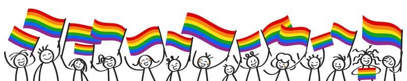 Toejuichend menigte van gelukkige stokcijfers met regenboogvlaggen, LGBTQ-verdedigers die en kleurrijke vlaggen glimlachen golven royalty-vrije illustratie