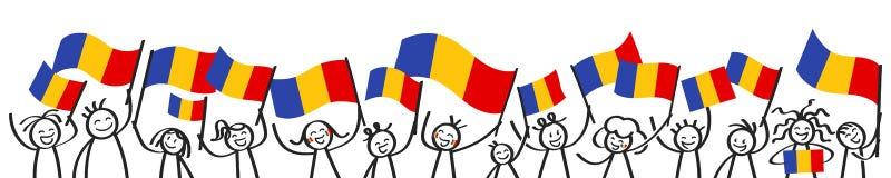 Toejuichend menigte van gelukkige stokcijfers met Roemeense nationale vlaggen, glimlachend de verdedigers van Roemenië, sportenve stock illustratie