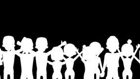 Toejuichend mensen in Wit Alpha- kanaal als achtergrond - volledige lengte royalty-vrije illustratie