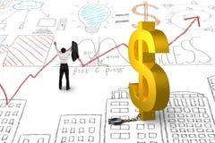 Toejuichend zakenman vrij van de sluiting van het dollarteken Stock Afbeeldingen