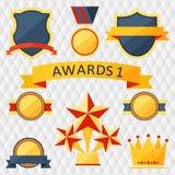 Toekenning en trofeeënreeks pictogrammen. Stock Afbeeldingen