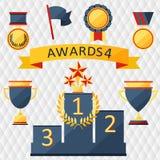Toekenning en trofeeënreeks pictogrammen. Royalty-vrije Stock Afbeelding