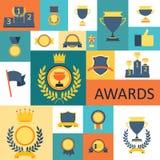 Toekenning en trofeeënreeks pictogrammen. Royalty-vrije Stock Foto