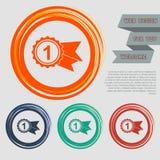 Toekenning, kenteken met lintenpictogram op de rode, blauwe, groene, oranje knopen voor uw website en ontwerp ruimtetekst royalty-vrije illustratie