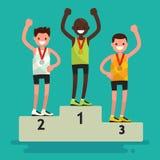 Toekenningsceremonie Drie atleten met medailles op een voetstuk Vecto Stock Afbeeldingen
