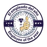 Toekenningskenteken met tweetalige teksten: Werknemer van het jaar in het Spaans en het Engels wordt geschreven dat stock illustratie
