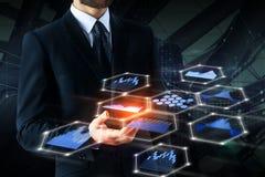 Toekomst, technologie en analyticsconcept stock foto's