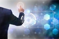 Toekomst van het concept van het technologienetwerk, het wereldwijde netwerksymbool van de Zakenmanholding en grafische interface Royalty-vrije Stock Fotografie