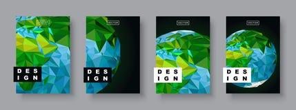 Toekomstig Affichemalplaatje Minimale geometrische patroongradiënten Veelhoekige halftone De illustratie van de aardeplaneet Stock Afbeelding