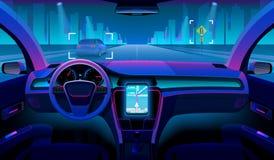 Toekomstig autonoom voertuig, driverless autobinnenland met buiten hindernissen en nachtlandschap Futuristische automedewerker vector illustratie