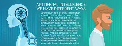 Toekomstig concept mens en robotcoëxistentie Verschillende bedrijfs en economiemanier van kunstmatige intelligentie en mens royalty-vrije illustratie