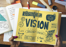 Toekomstig de Brainstormingsconcept van visie Onrealistisch Doelstellingen stock afbeelding