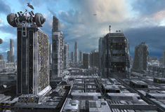 Toekomstige Cityscape 3D Illustratie Stock Fotografie