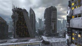 Toekomstige Cityscape 3D Illustratie Royalty-vrije Stock Afbeeldingen