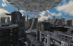 Toekomstige Cityscape 3D Illustratie Royalty-vrije Stock Afbeelding
