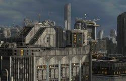 Toekomstige Cityscape 3D Illustratie Royalty-vrije Stock Fotografie