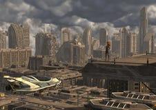 Toekomstige Cityscape 3D Illustratie Royalty-vrije Stock Foto