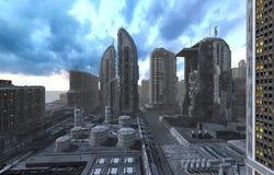 Toekomstige Cityscape 3D Illustratie Stock Foto's