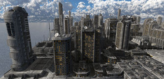 Toekomstige Cityscape 3D Illustratie Royalty-vrije Stock Foto's